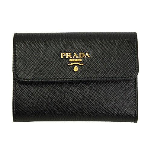 Prada Black Saffiano Leather W/Metal logos Tri-fold Wallet 1MH840 Nero