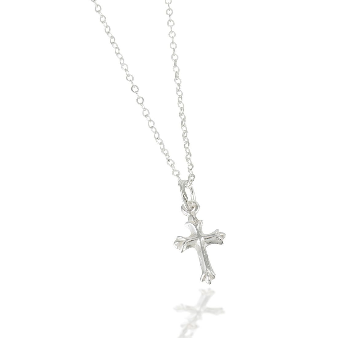 """Beloved Child Goods Sterling Silver Cross Necklace with Chain for Babies (12"""") & Girls (14"""") Makes an Ideal Baby Shower, Baptism or Christening, Welcome New Baby and Will be a Treasured Heirloom. CrossC12bag"""