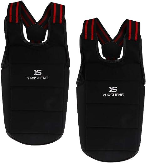 SM SunniMix 2 Pack Unisex Chaleco Protector de Cuerpo Boxeo Cintura Protector Gear Chaleco Protectora Negro para Taekwondo Arte Marcial: Amazon.es: Deportes y aire libre