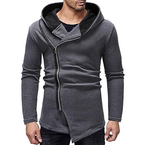 Mysky Fashion Men Classic Splicing Slanted Zipper Sweatshirt Blouse Men Casual Solid Hooded Pullover Top -