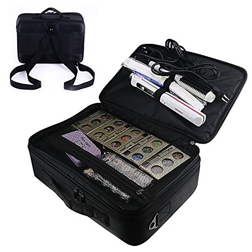 Travelmall Professional Cosmetic Organizer Makeup Train Case 3 layer Large size Make Up Artist Box with Adjustable Shoulder for Makeup Brush set Hair style nail beauty tool (black)