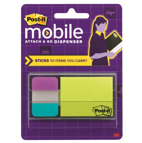 Post-it Mobile Attach and Go Note and Tabs Dispenser, Includes 24 - 2 x 1.5-Inch Notes, 12 - 1 x 1.5-Inch Tabs per Pack (PM-COMBO1)