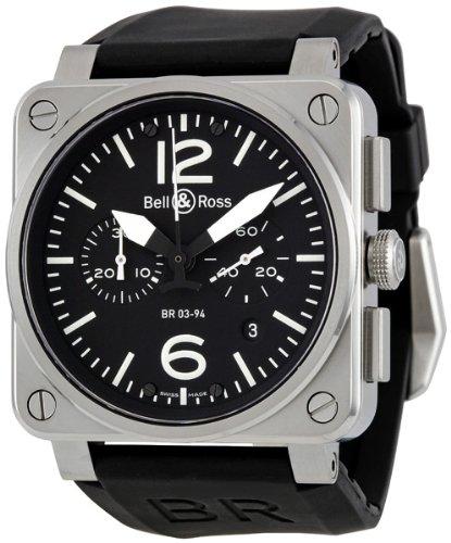 Bell & Ross Men's BR03-94-STEEL Aviation Black Rubber Strap Watch