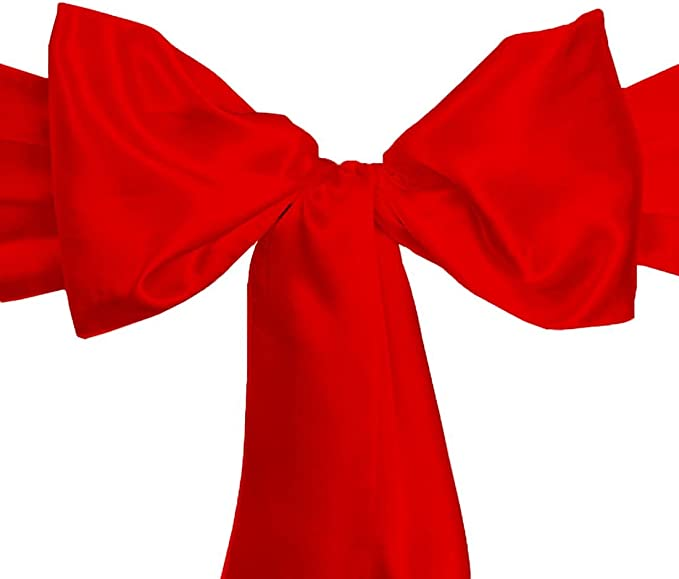 LinenTablecloth Satin Sash (10-Piece) Red