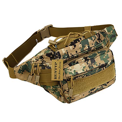 (Huntvp Military Hip Fanny Pack Tactical Waist Bag Packs Waterproof Hip Belt Bag Pouch for Hiking Climbing Outdoor Bumbag Jungle Camouflage)