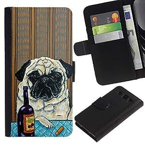 Pug Art Wrinkles Painting Wine Dog - la tarjeta de Crédito Slots PU Funda de cuero Monedero caso cubierta de piel Samsung Galaxy S3 III I9300