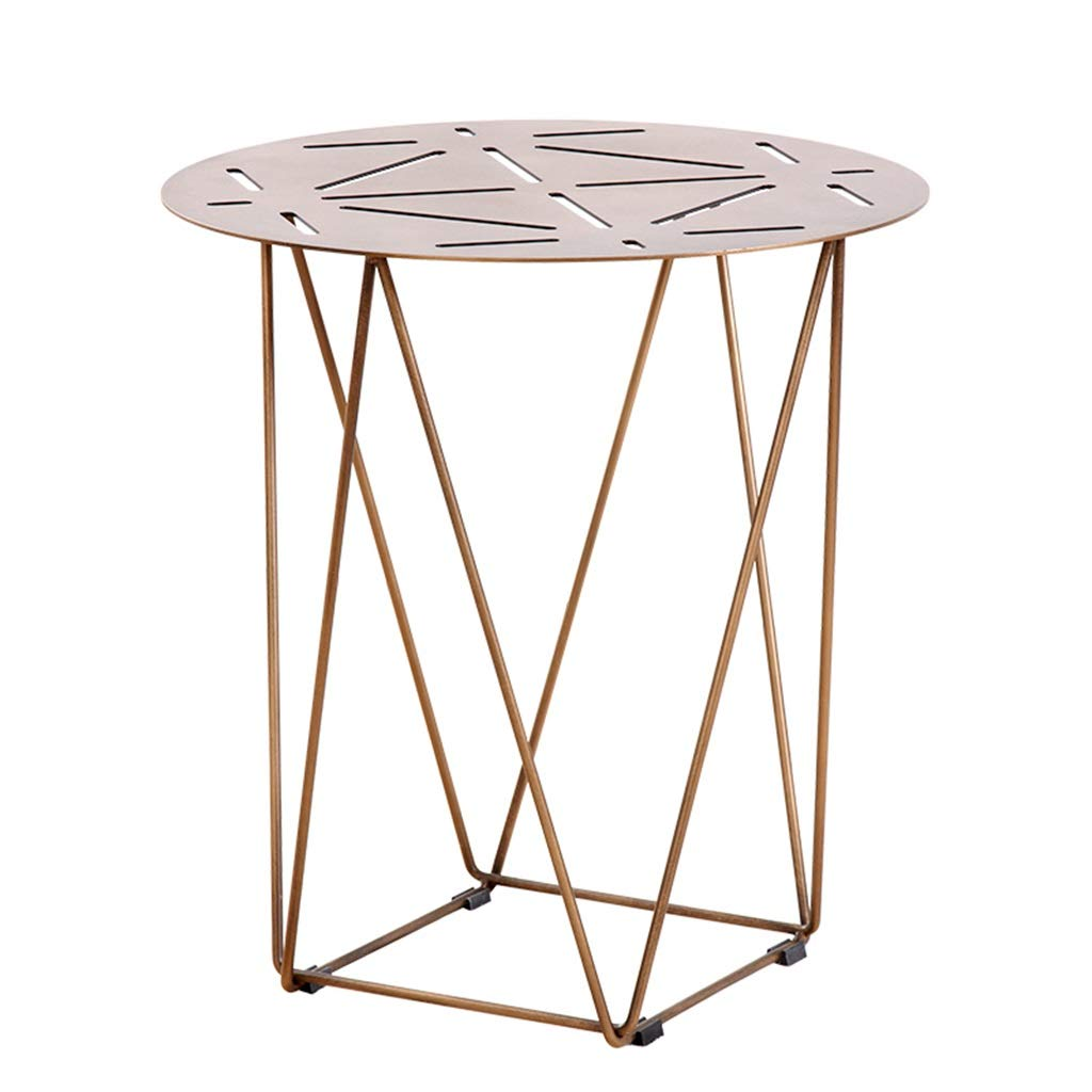 LQQGXLBedside Table Simple Wrought Iron Small Table Round Hollow Table Living Room Bedroom Creative Furniture Small Side Table (Size : L) by LQQGXL