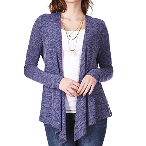 Gallity Clearance Sale! Women's Open Front Long Sleeve Irregular Cardigan Casual Knit Shirt Loose Sashes Tops (S, Blue) ()
