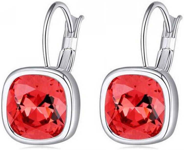 O&YQ Pendientes de Cristal - Fantasía Cuadrada de Cristal de Gama Alta Pendientes Joyería Femenina, Lotus Red20252