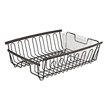 InterDesign Axis Kitchen Dish Drainer Rack for Drying Glasses, Silverware, Bowls, Plates - Bronze/Clear