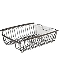 InterDesign Axis Kitchen Dish Drainer Rack For Drying Glasses Silverware Bowls Plates Bronze Clear
