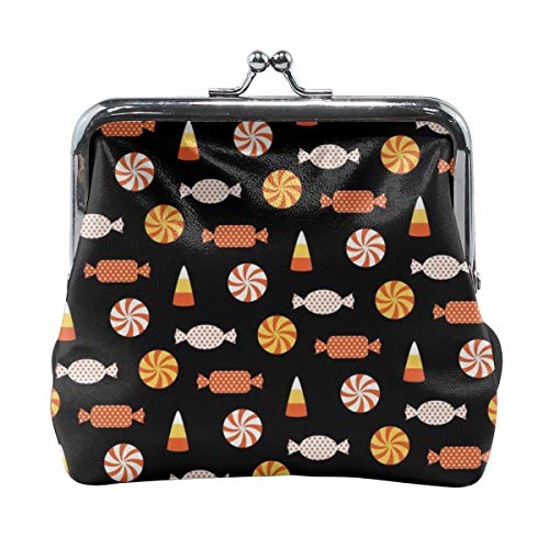 Poream Halloween Candy Vector Image Retro Leather Cute Classic Floral Coin Purse Clutch Pouch Wallet For Girls And Womens for $<!--$15.70-->