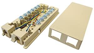Allen Tel Products AT666 6 Position, 6 Conductor Modular Duplex Surface Jack, Ivory