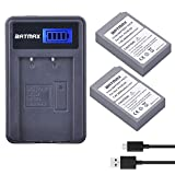 (US) Batmax 2000mAh 2Pcs PS-BLS-5 BLS5 BLS50 Battery + LCD USB Charger for Olympus BLS-5, BLS-50, PS-BLS5 PEN E-PL2,E-PL5,E-PL6,E-PL7,E-PM2,E-M10,E-M10 Mark II,III,Stylus1 Camera Batteries