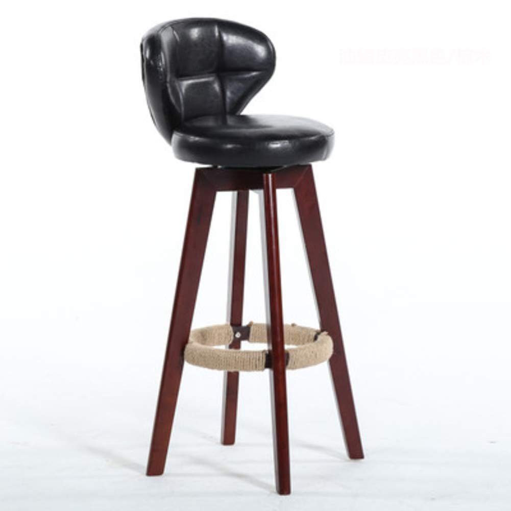 Black A Modern Solid Wood Barstools, 360 Degree Swivel High Stool with Backs Pu Leather Filled Cotton Pub Chair Counter Bar Stool Chair for Office Bar Home-Black