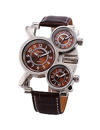 OULM Men's Sport Outdoor Military Fashion Oversize Quartz Wristwatch Leather Strap 3 Time Zones Display Dial Alien Design + Box