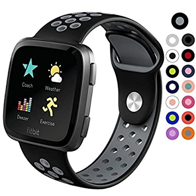 Replacement Silicone Sport Strap Band For Fitbit Versa,Ventilation Holes Soft Silicone Sport Strap
