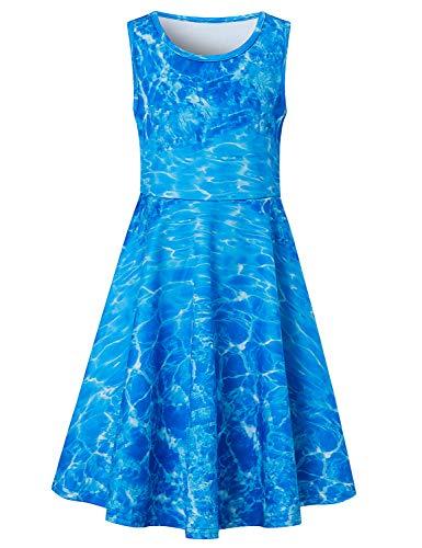 (Goodstoworld 5T Dresses for Girls Ocean Blue 4t Sleeveless Summer Dresses Vintage Party Princess Twirl Dresses Church Beach Holiday Sundress Homecoming A-line Swing Dress 4-5 Years)