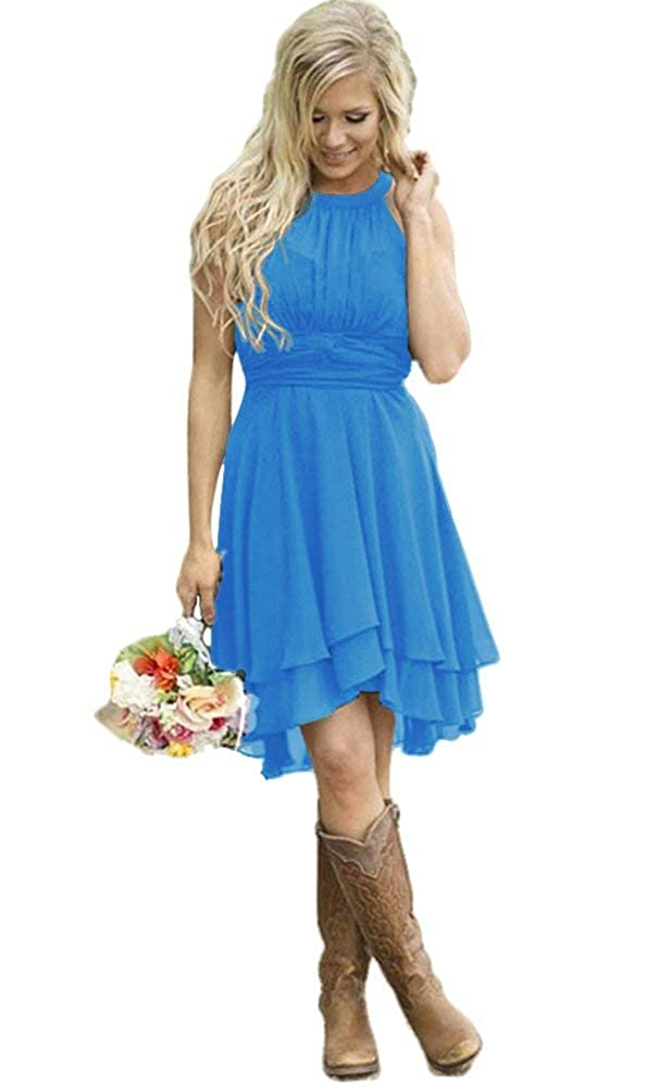Dark bluee FJMM HiLo Prom Dress 2 Layers Pleated Bridesmaid Gown for Beach Wedding