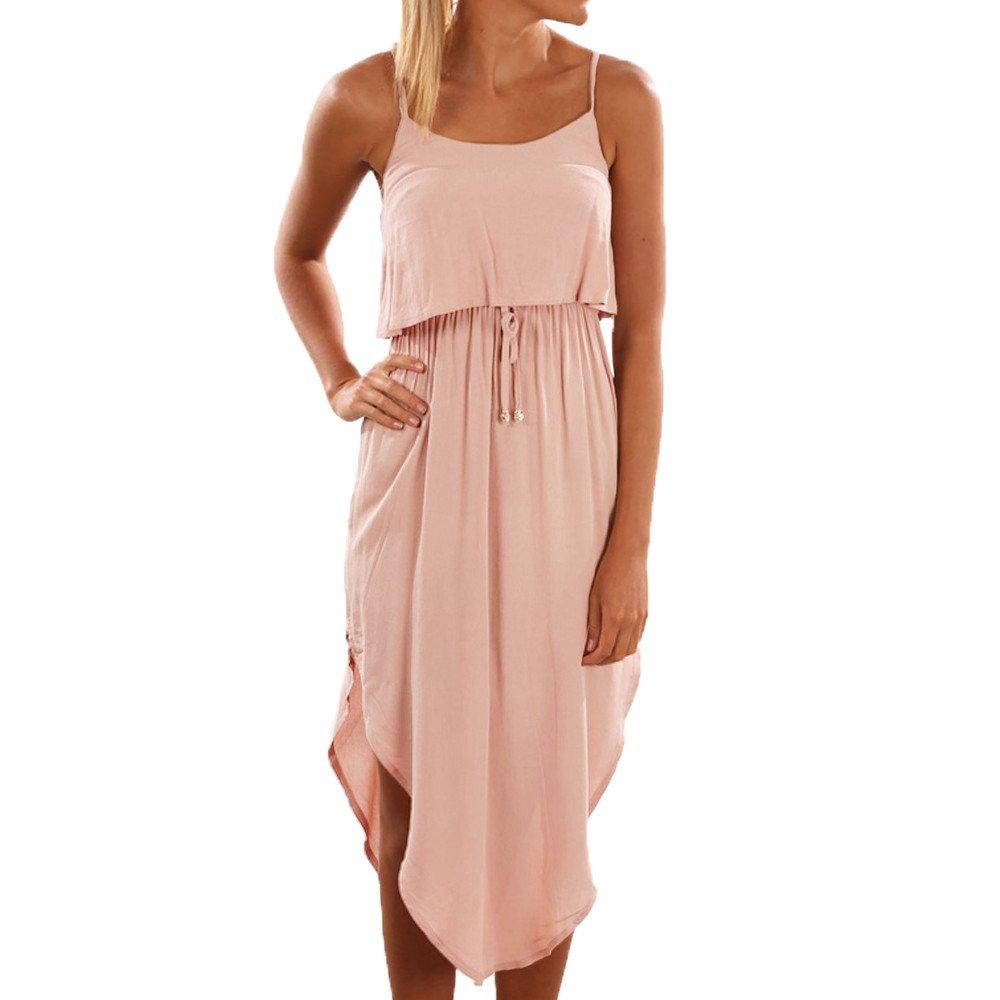 Women Dresses ILUCI Women's Adjustable Strappy Split Autumn Beach Casual Midi Dress