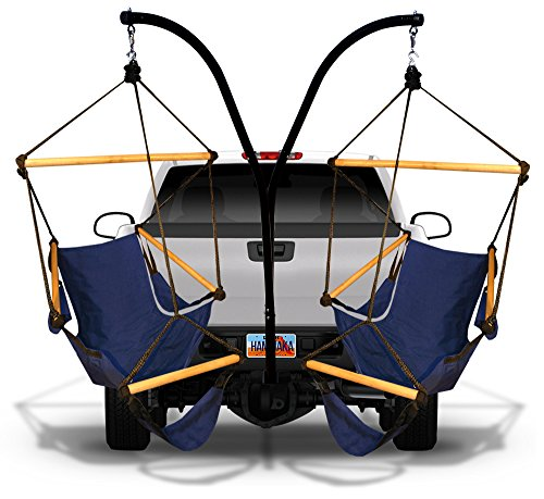 Hammaka Hammock Hitch Stand with 2 Cradle Chairs and Blue Green Parachute Hammock Blue