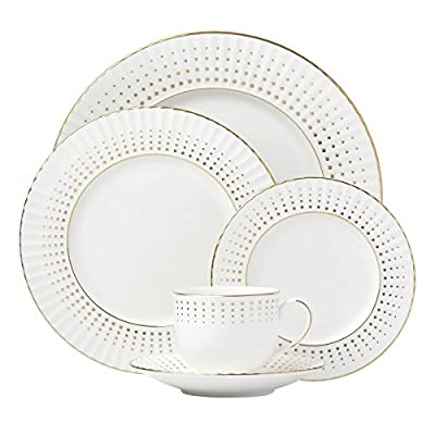 Lenox Golden Waterfall 5-piece Place Setting, 4.0 LB, White - Material: White Bone China Dishwasher Safe 24K Gold Accents - kitchen-tabletop, kitchen-dining-room, dinnerware-sets - 512NU8SaHkL. SS400  -