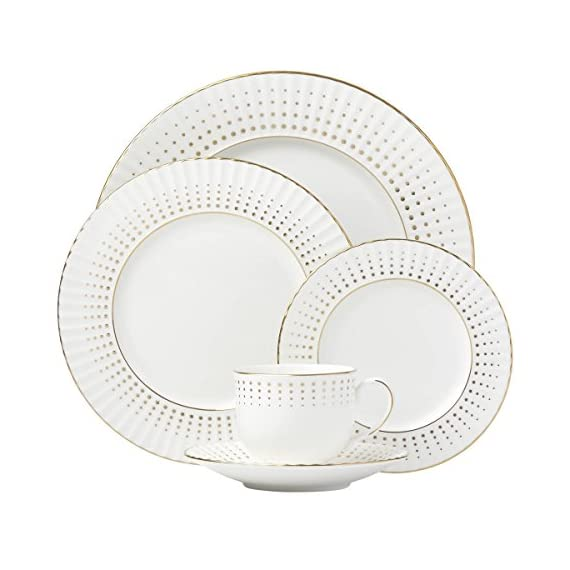 Lenox Golden Waterfall 5-piece Place Setting, 4.0 LB, White - Material: White Bone China Dishwasher Safe 24K Gold Accents - kitchen-tabletop, kitchen-dining-room, dinnerware-sets - 512NU8SaHkL. SS570  -