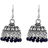 The Trendy Trendz Oxidised Silver Metal, German Silver, Beads Jhumka / Jhumki for Women And Girls