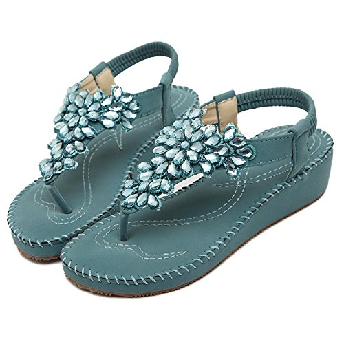 Flower Blue Beauty Sandals Flat Women's D2C Rhinestone Thong Bohemian 1IwOnqxA