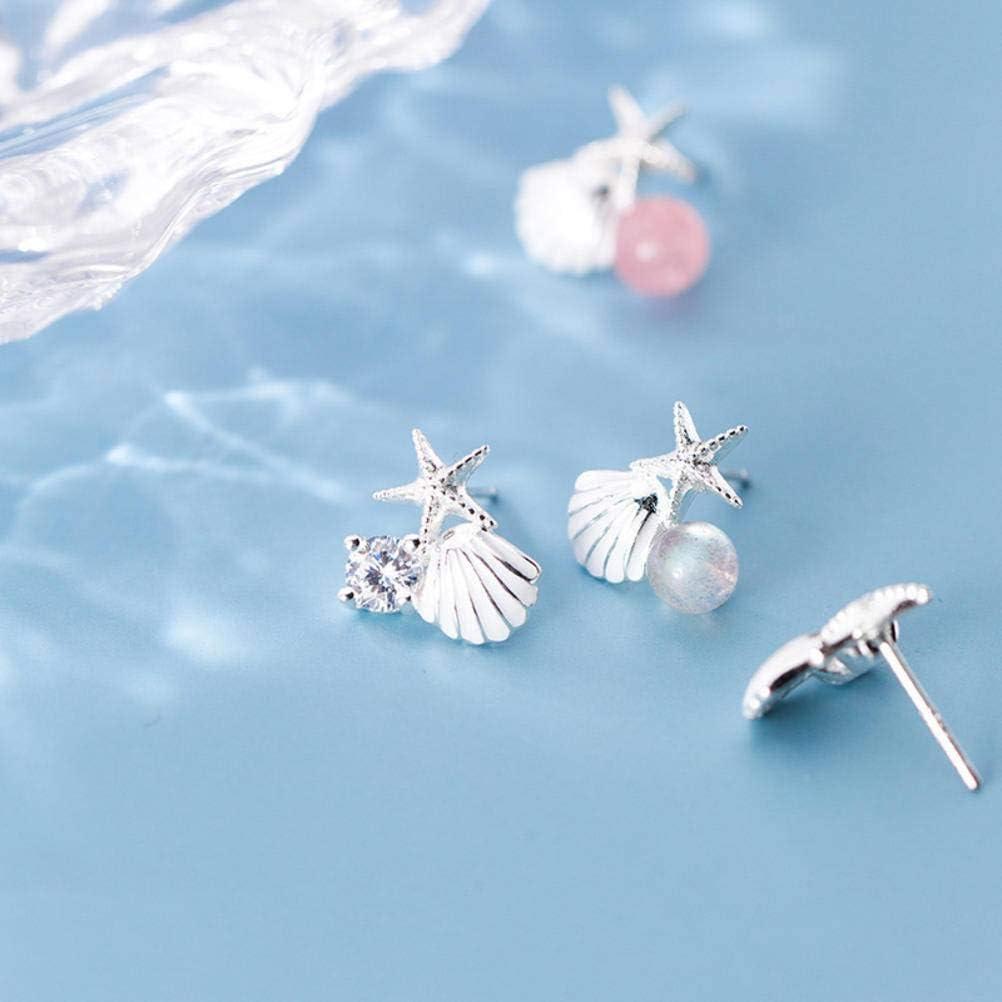 Bijoux Fantaisie Boucles DOreilles Simples Boucles DOreilles en Argent S925 Journ/ée de la Femme de Style Cor/éen Boucles DOreilles /à la Mode /Él/égante en Forme de Diamant Coquillages Et /Étoiles de M