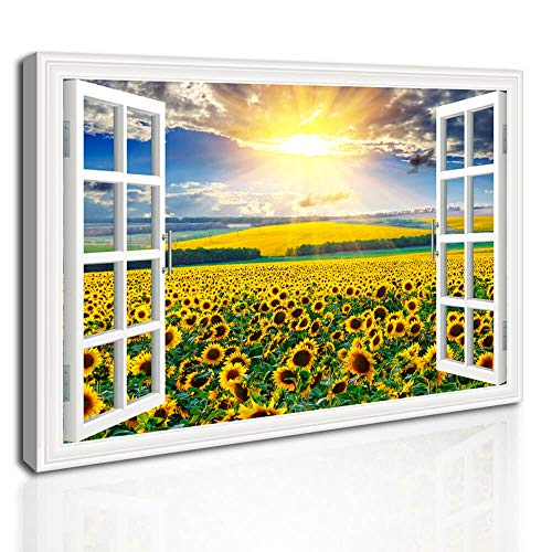 - Canvas Wall Art for Bedroom Sunflower Art Wall Decor Flower Artwork for Walls Flower Field Painting for Bathroom Living Room Stretched Gallery Canvas Wrap Prints Ready to Hang