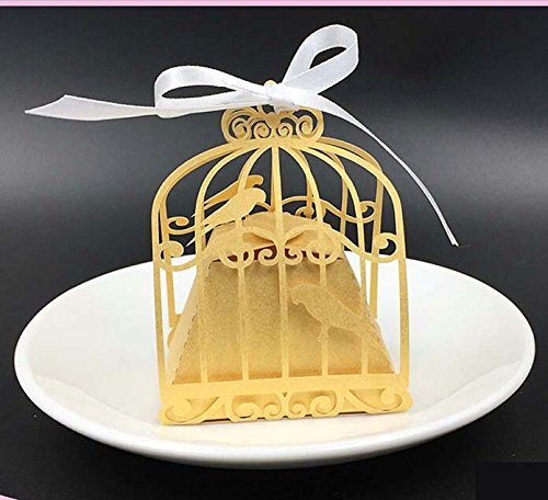 Birdcages And Supplies (Somnr® 50pcs Love Birdcage Laser Cutting Candy Box Chocolate Box Wedding Gifts For Guests Wedding Decoration Party Supplies Decorations (Golden))