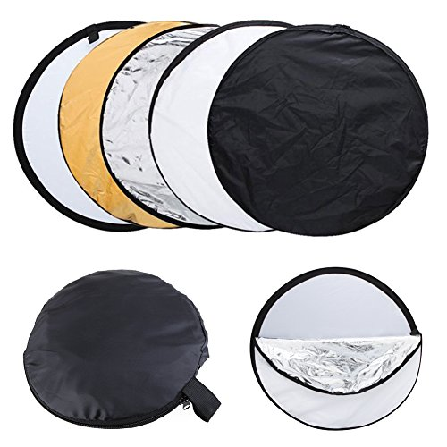 Fomito Collapsible Reflector Portable 5 in 1 110cm 43inch Gold,Sliver,Black,White and Translucent Collapsible Multi-Disc Light Reflector with Bag for Studio or any Photography Situation by Fomito