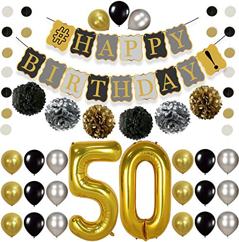KatchOn 50th Birthday Decorations Kit -  Gold Black and Silver Paper PomPoms, Tassel, Balloons, Circle Garland, Happy Birthday Banner Gold and Black, Number 50 for 50th Birthday Party Supplies, Large]()