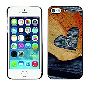 X-ray Impreso colorido protector duro espalda Funda piel de Shell para Apple iPhone 5 / iPhone 5S - Leaf Autumn Black Love Deeo