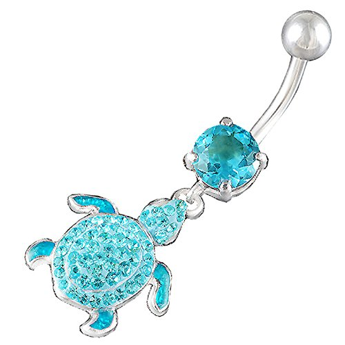 bodyjewellery Belly Button Bar Dangling Ring Sexy Cute Dangle Exotic Pierce 14Gauge 3/8 Turtle Ferido Navel dangly BERE ()