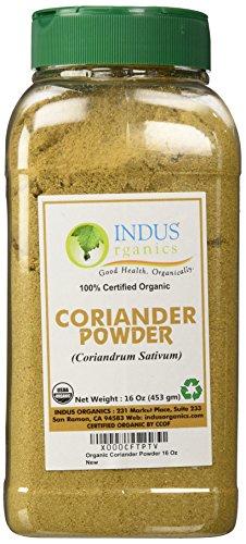 Indus Organics Coriander Seeds Powder, 1 Lb Jar, Premium Grade, High Purity, Freshly Packed