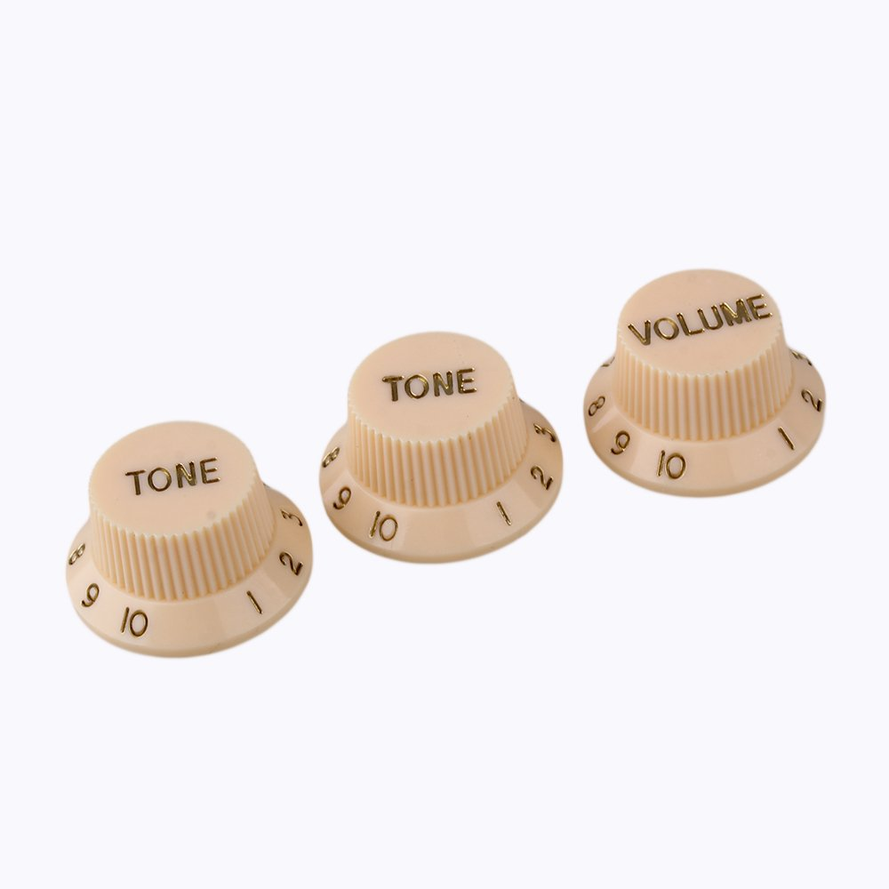 Yibuy Cream Color Plastic 1V2T Control Knobs Volume Control Knob for Electric Guitar or Bass Set of 3