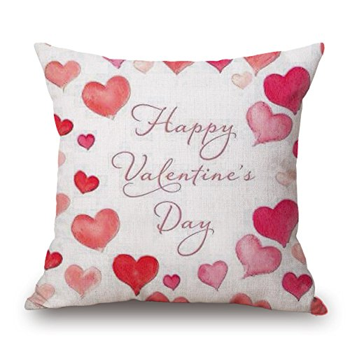 (GOVOW Valentines Day Decorations Throw Pillow Case Sweet Love Square Cushion Cover on)
