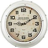 Relógio de Parede Grand Hotel Branco em Metal - 42x6,5 cm