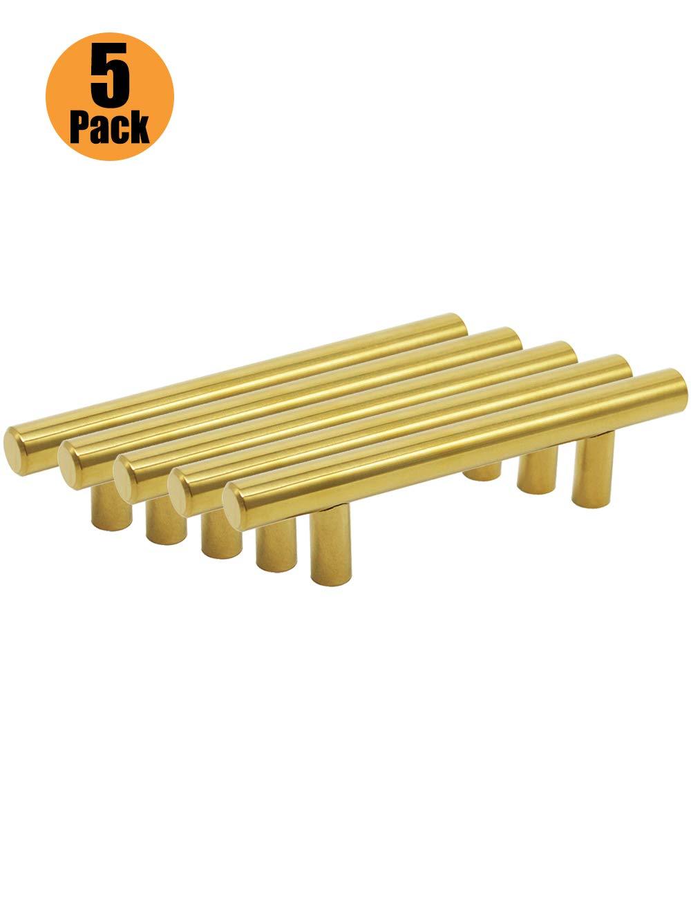 serie de mangos dorados en forma de T con tornillos de 6 x 25 mm PinLin dorado Tiradores de acero inoxidable para puertas de armarios de cocina agujero /único//64//76//96//128//160//192//224//256 mm
