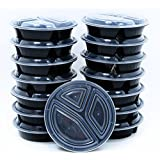 BlacWare [15 Pack] Meal Prep Round 3 Compartment Food Storage Containers Durable BPA Free Plastic Reusable Microwave & Dishwasher Safe Portion Control & 21 Day Fix Weight Loss Fitness