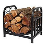 Patio Watcher Decorative Metal Firewood Rack Log Rack Wood Storage Log Holder Log Bin Indoor Outdoor Backyard Fireplace, Heavy Duty Steel Black