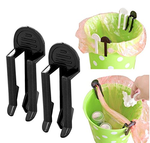 BeautyMood 18 Pieces Practical Trash Can Clamp Plastic Garbage Bag Clip Fixed Waste Bin Bag Holder Rubbish Clip,Large Kitchen Bags clip (Garbage Can Clips)
