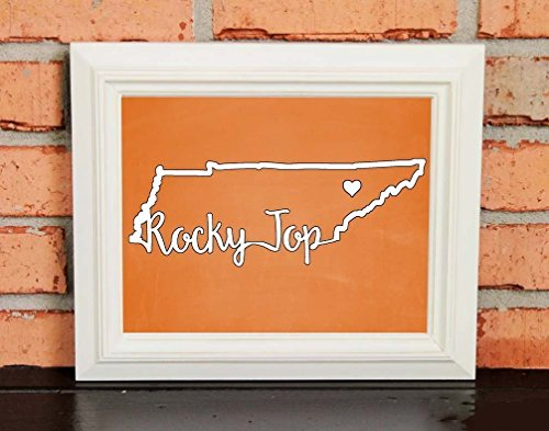 - ROCKY TOP! College Pride Wall Art - Tennessee Artwork - Tennessee Vols - University of Tennessee - Orange and White - Man Cave Artwork - College Decor - UNFRAMED Poster Print - Chalkboard Finish