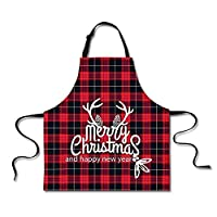 Xinind Cotton Buffalo Check Plaid Apron with Adjustable Extra-Long Ties, Men and Women Christmas Pattern Kitchen Apron for Cooking, Baking, Crafting, Gardening & BBQ