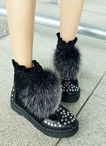 Boots Noir Bottines Low Hiver Dentelle Femme Aisun Chic 0qwI7Hx
