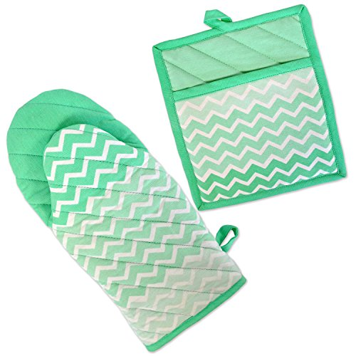 DII 100% Cotton, Machine Washable, Everyday Kitchen Basic, Chevron Printed Oven Mitt and Pot Holder Gift Set, Aqua
