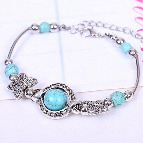Aland Women's Fashion Turquoise Beads Bracelet Charming Alloy Bangle Jewelry Gift