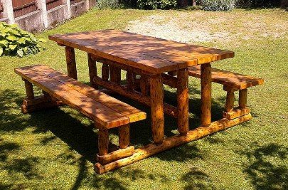 Casa Padrino Gartenmöbel Set Rustikal Tisch 2 Garten Bänke Mod Gm2